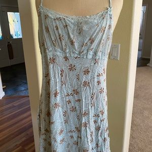 Pale blue nightgown with tan print
